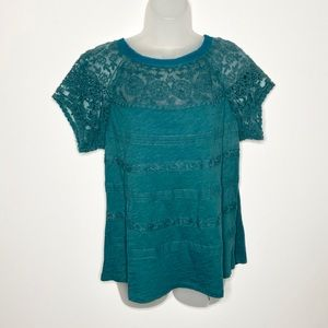 Meadow Rue embroidered lace illusion boho top